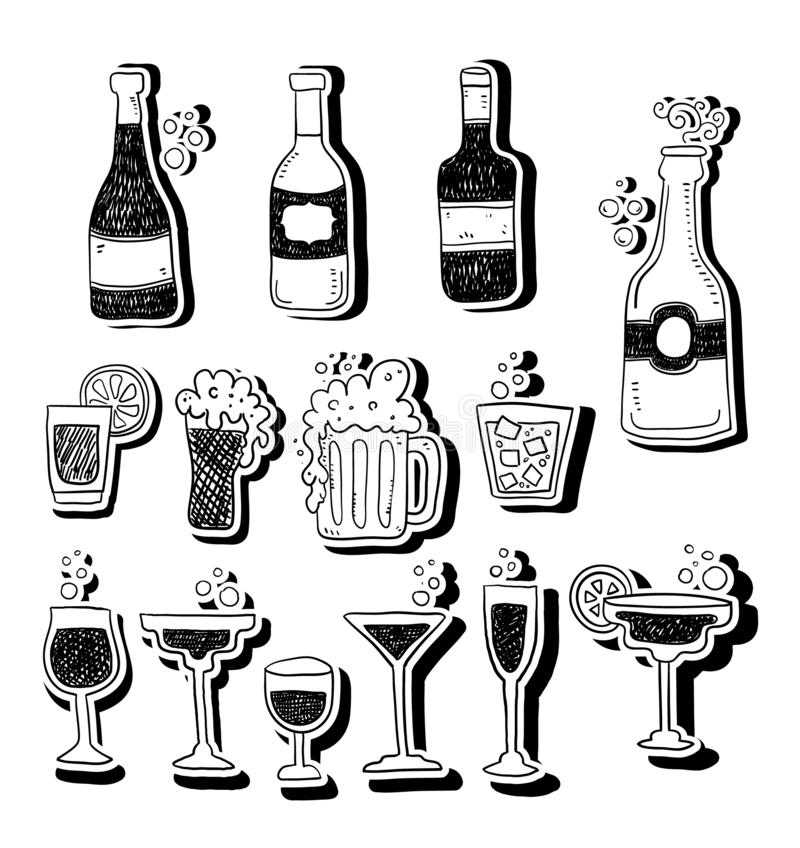 Strong drinks icons. Set of line icons on white background. Alcohol concept. Strong drinks icons. Set of line icons on white background. Beer bottle martini stock illustration