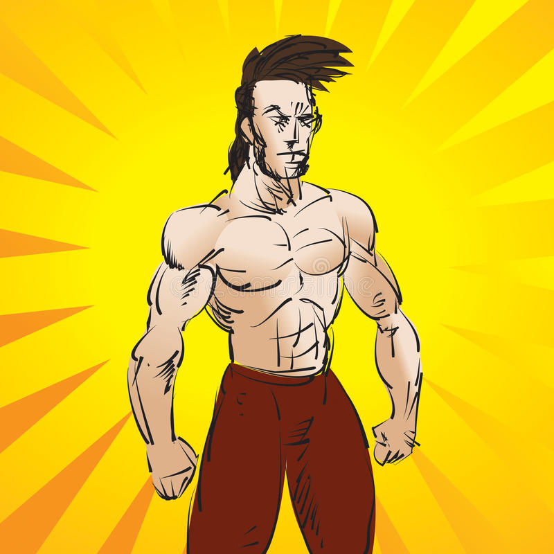 Strong Dude. Illustration of a martial arts fighter or athletic man stock illustration