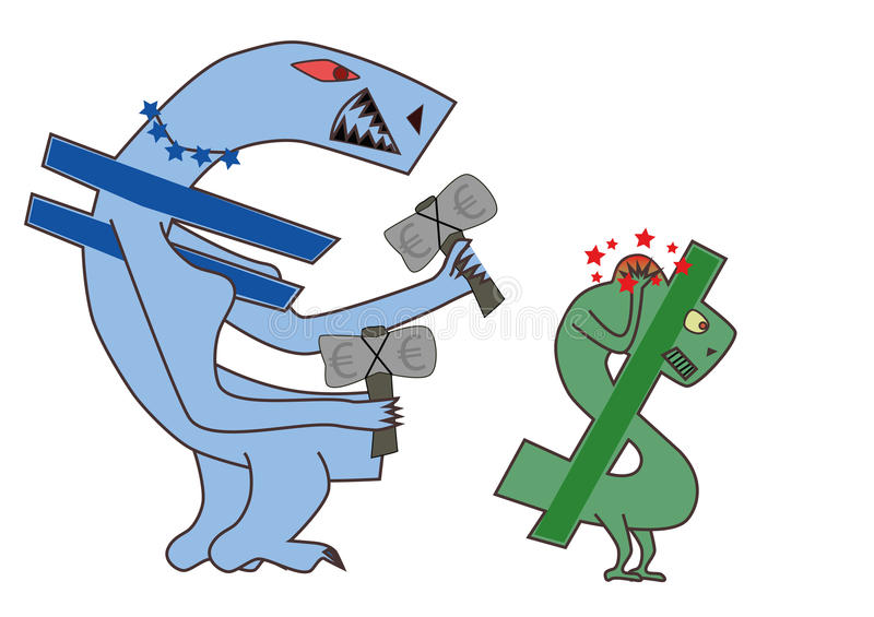 Strong Euro and weak Dollar currency. Conceptual illustration of a strong Euro hitting a weak American dollar currency sign with a white background vector illustration