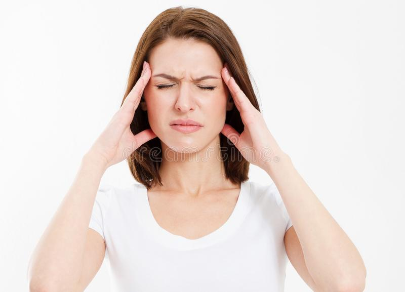 Strong female migraine, Suffering woman head pain isolated stock photo