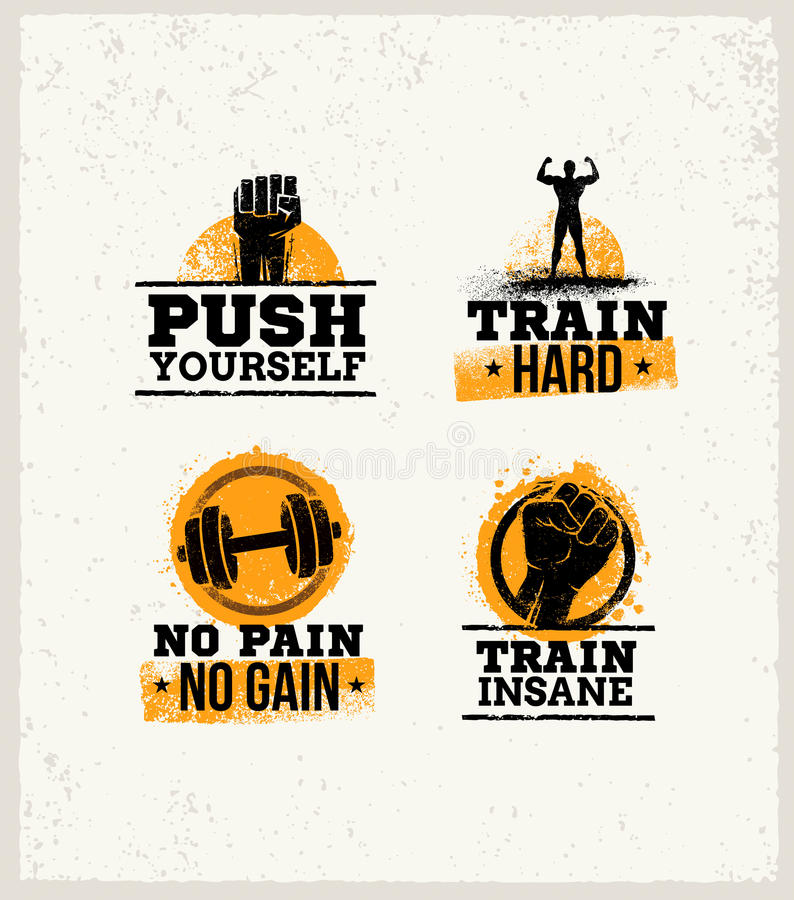 Free Strong Fitness Gym Workout Motivation Design Elements. Sport Fit Sign Vector On Rough Background Stock Images - 88260734