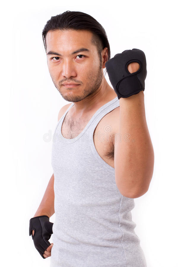 Strong fitness man isolated royalty free stock photo