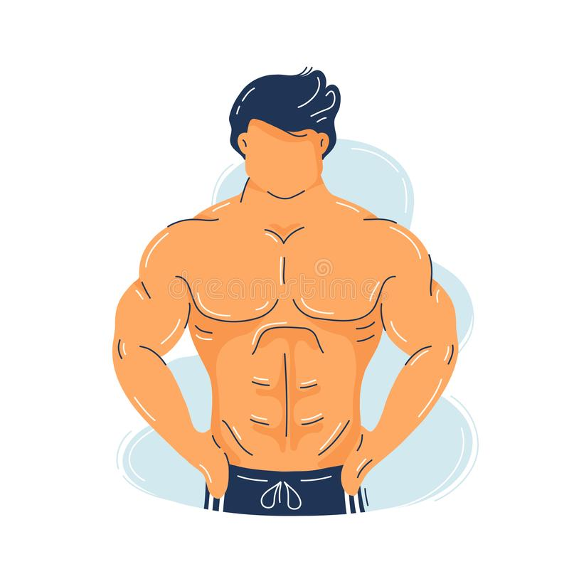 Strong fitness muscular man with perfect body royalty free illustration