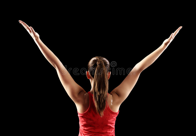 Download Strong Fitness Woman Showing Back Biceps Muscles Stock Photo - Image: 35186766