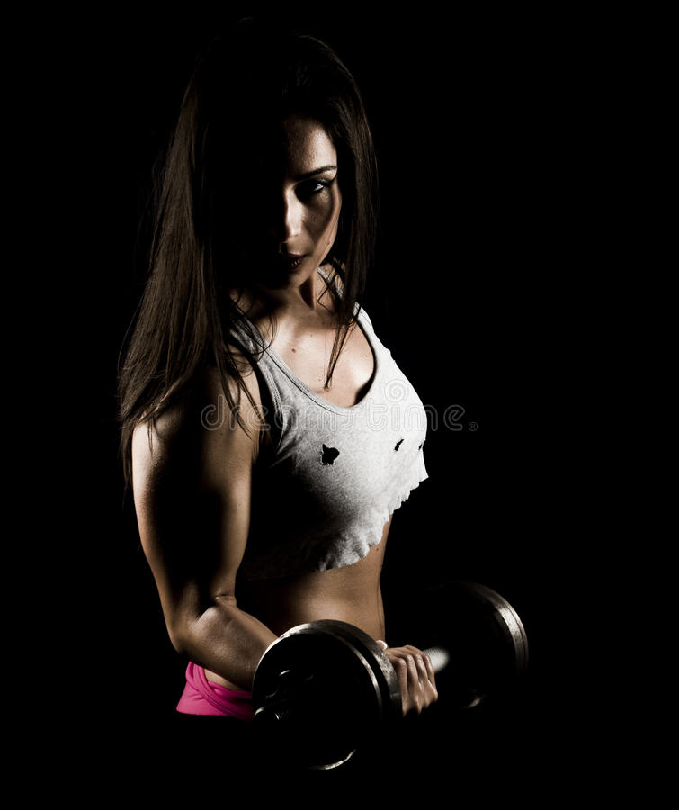 Strong Fitness Woman Working Out With Heavy Weights Royalty Free Stock Photography