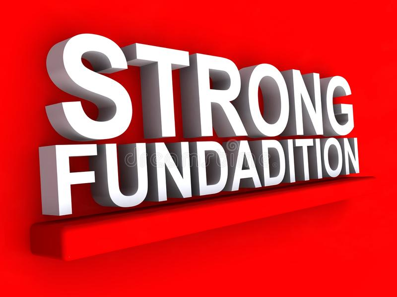 Strong foundation. Notice on red background royalty free illustration