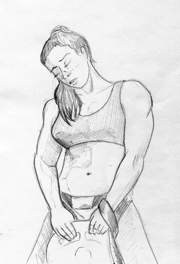 Strong girl pencil sketch stock photos