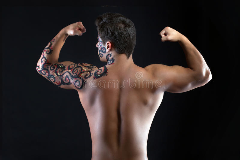 Download Strong Guy Posing Shirtless, Back To Camera Royalty Free Stock Photography - Image: 38364097