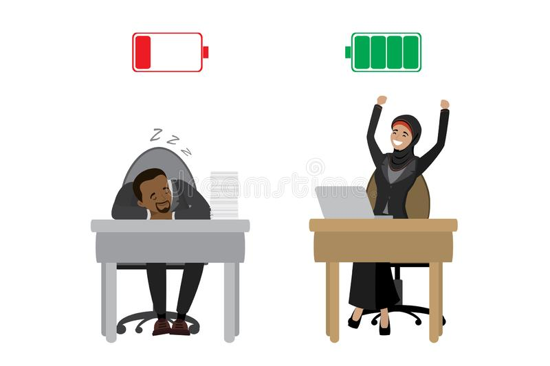 Strong happy arabic businesswoman and tired african american businessman,Green Charged and red discharged battery,isolated on royalty free illustration