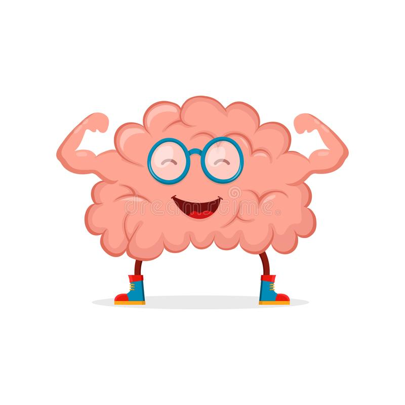 Strong happy healthy brain character. Vector flat cartoon illustration icon design. Isolated on white backgound royalty free illustration