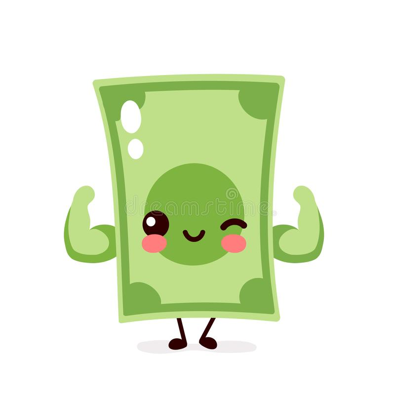 Strong happy money banknote show muscle. Vector flat cartoon character illustration icon design. Isolated on white background. Dollar bill,money,banknote stock illustration