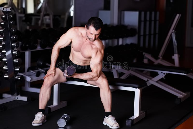 Strong healthy adult ripped man with big muscles training with d royalty free stock photos
