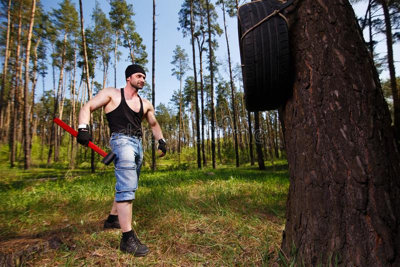 Strong healthy adult ripped man with big muscles working out wit royalty free stock photography