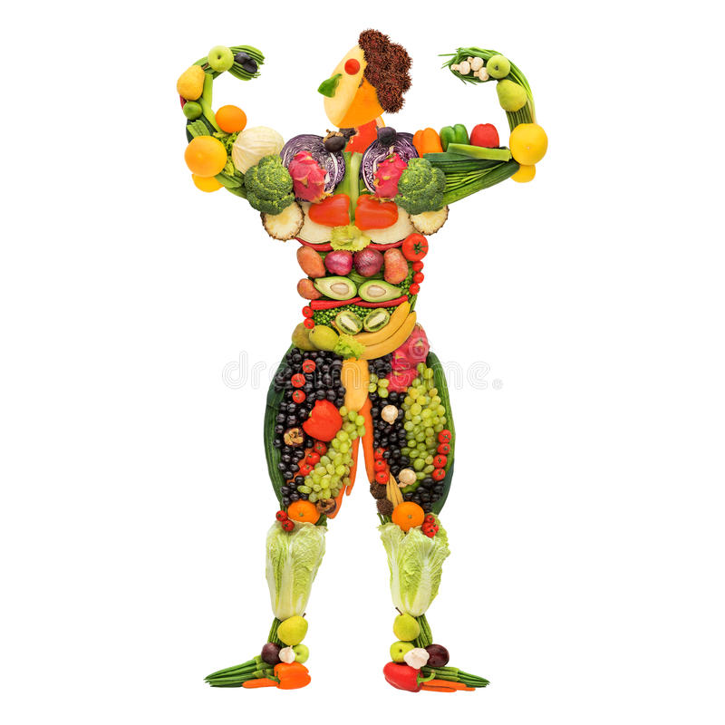 Strong and healthy. Fruits and vegetables in the shape of a healthy posing muscular bodybuilder