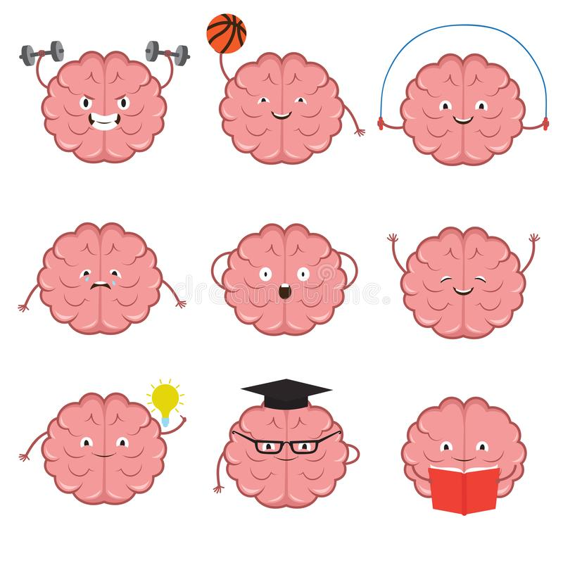Strong, healthy, sports and smart brain vector cartoon characters set vector illustration