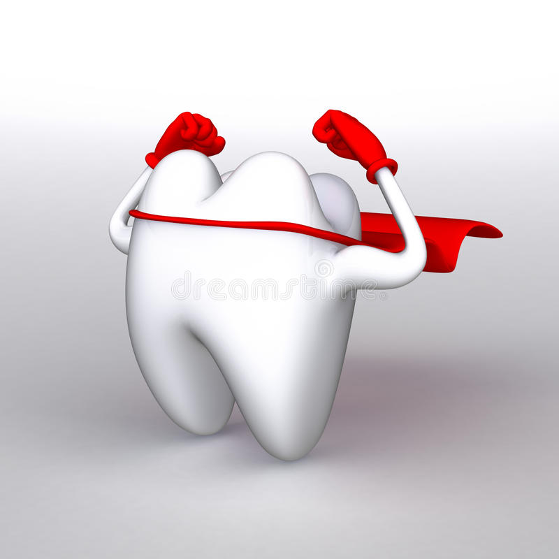 Strong healthy tooth. 3D rendering of a strong and healthy tooth with a red cape, flexing it's muscles royalty free illustration