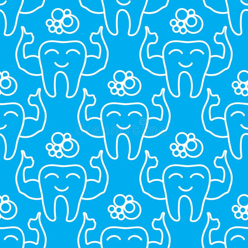 Strong healthy tooth. Vector Dental care symbol seamless pattern. Vector Strong healthy tooth. Dental care symbol seamless pattern isolated on blue background stock illustration