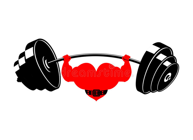 Strong heart and barbell. Powerful love athlete. Cardio training royalty free illustration