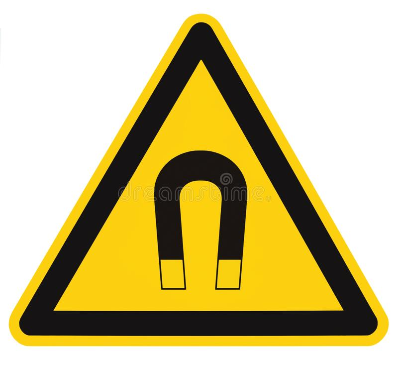Strong Magnetic Field Warning Sign Isolated Label, Hazard Safety Caution Attention Danger Risk Concept, Yellow Black Notice royalty free stock images