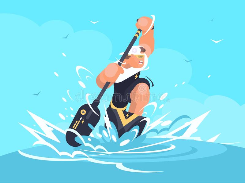 Strong man in canoe stock illustration