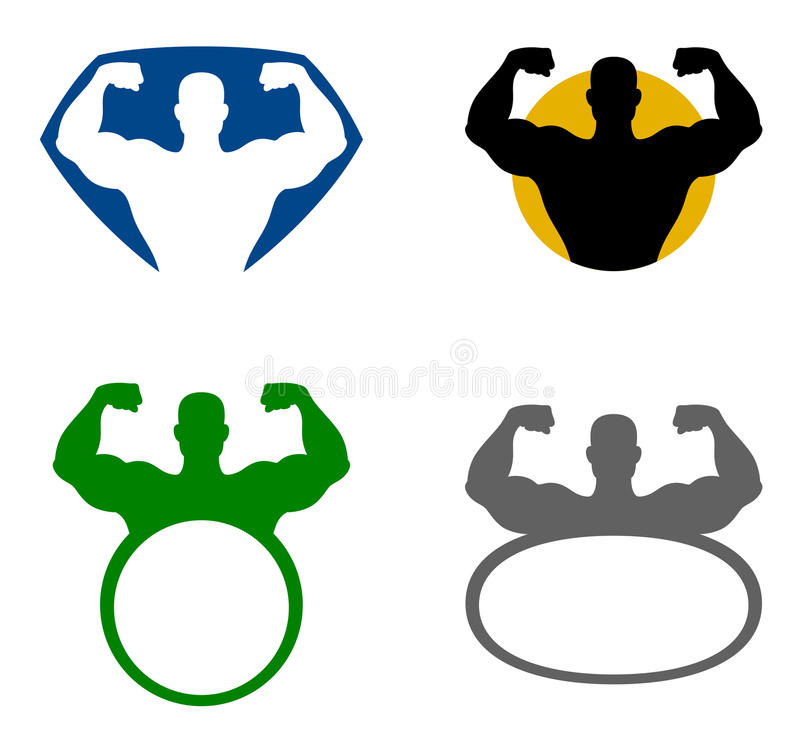 Strong man emblem vector illustration