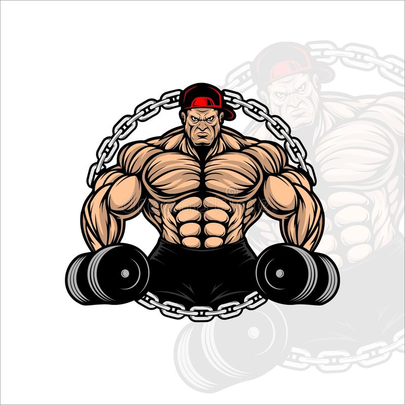 STRONG MAN FITNES WITH DUMBLE VECTOR DESIGN royalty free stock image