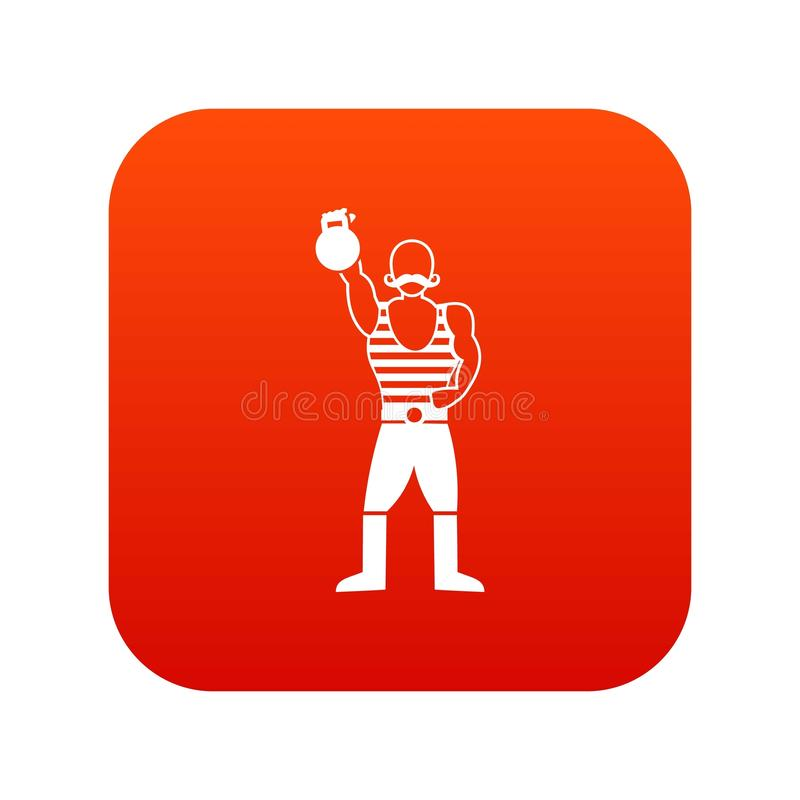 Strong man with kettlebell icon digital red vector illustration
