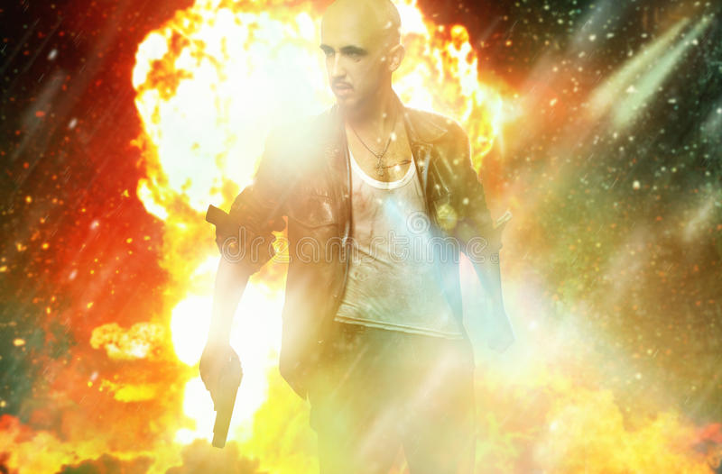 Strong man in leather jacket with gun royalty free stock photos