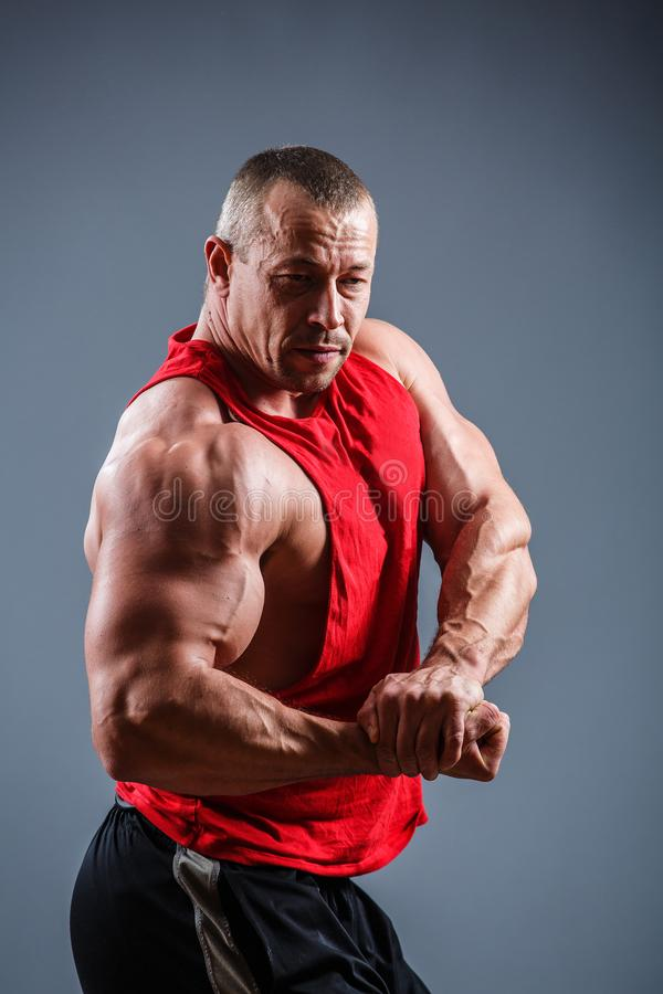 Strong man with perfect abs, shoulders, biceps, triceps and chest. Bodybuilder topless royalty free stock image