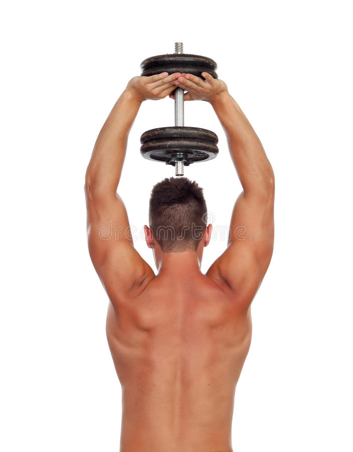 Strong Man Practicing Back Exercises With Dumbbells Stock Image