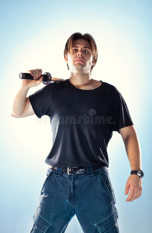 Download Strong Man With Samurai Sword Stock Photo - Image: 12700548
