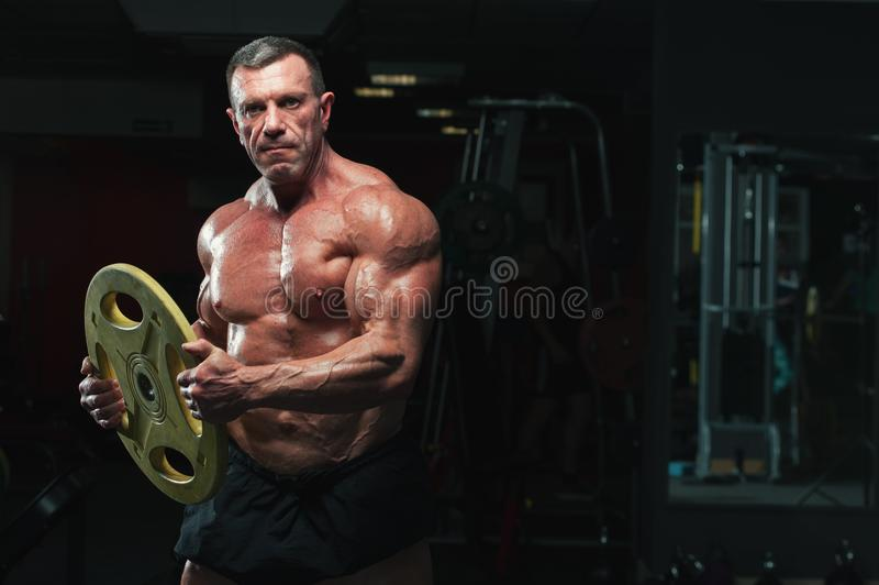 Strong mature man with relief body posing in gym. Portrait of high level bodybuilder posing with heavy weights in hands. Strong mature man with relief body royalty free stock photos