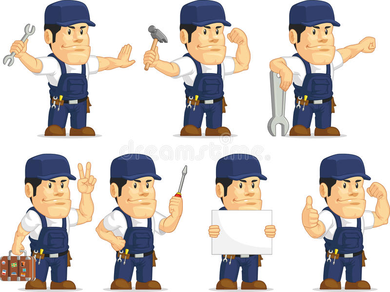 Strong Mechanic Mascot royalty free illustration