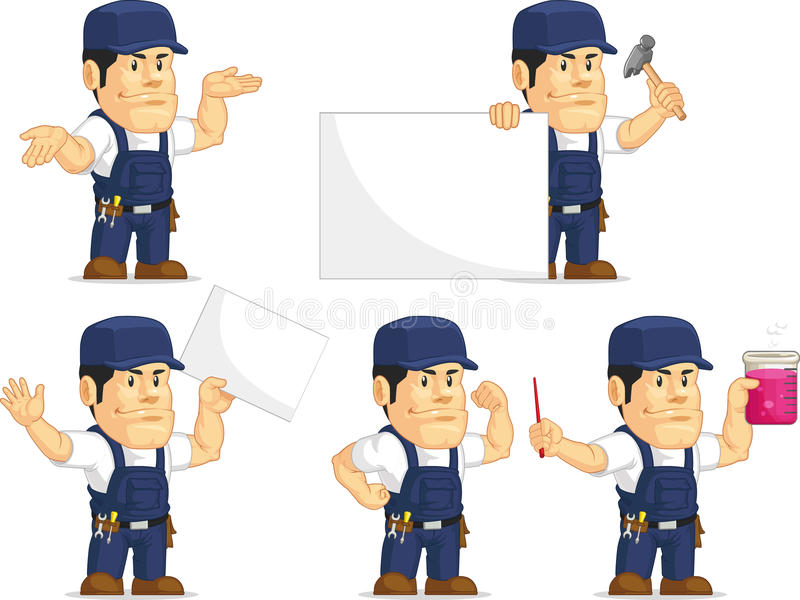 Strong Mechanic Mascot 8 stock illustration