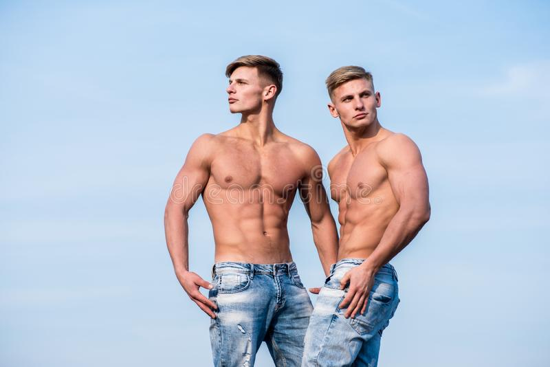 Strong muscles emphasize masculinity sexuality. Bodybuilder shape. torso attractive macho. Men muscular athlete. Bodybuilder show muscles. Men muscular chest royalty free stock photos