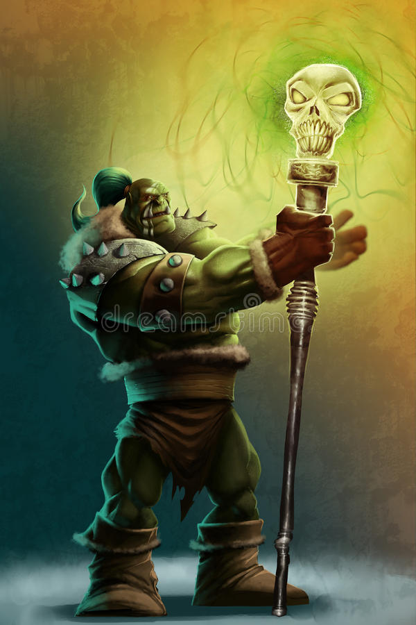 The strong orc shaman royalty free illustration