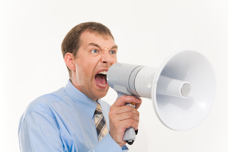 Strong order. Photo of businessman with megaphone in hand screaming into it royalty free stock image