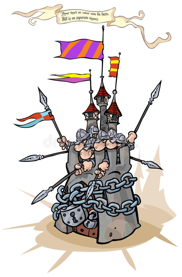 Strong padlocked fortress with defenders. Cartoon illustration - symbol of security, Strong padlocked fortress with defenders stock illustration