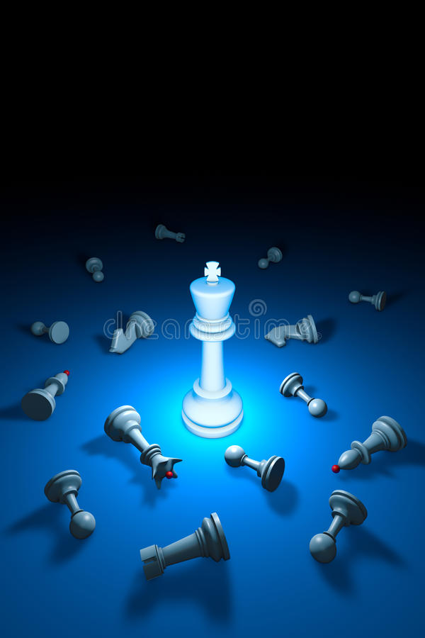 Strong personality (chess metaphor). 3D rendering illustration. stock image