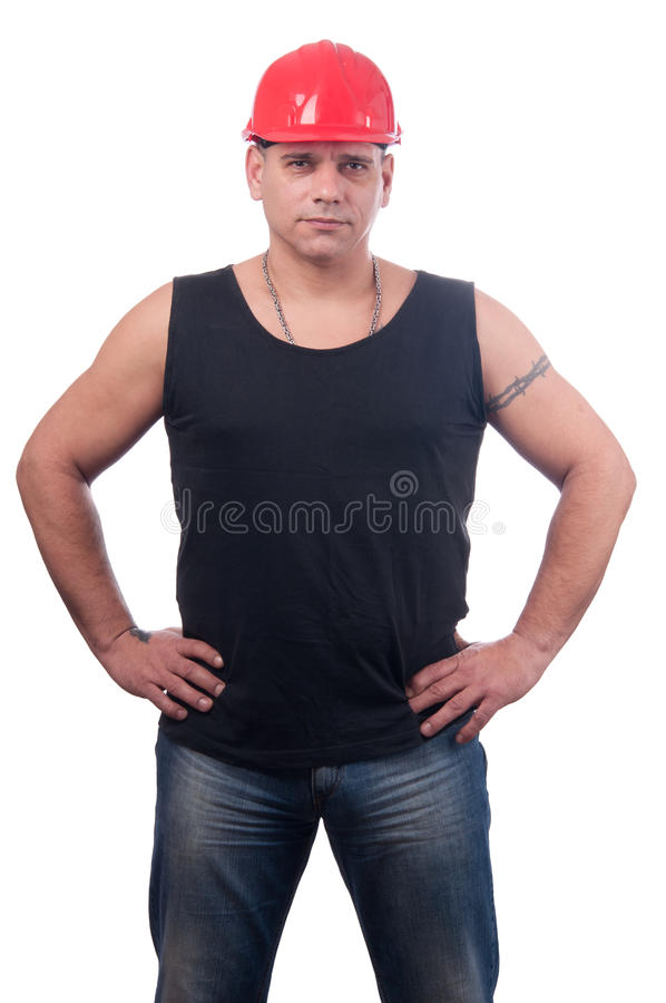 Strong Physical Worker With Helmet On His Head Stock Photo