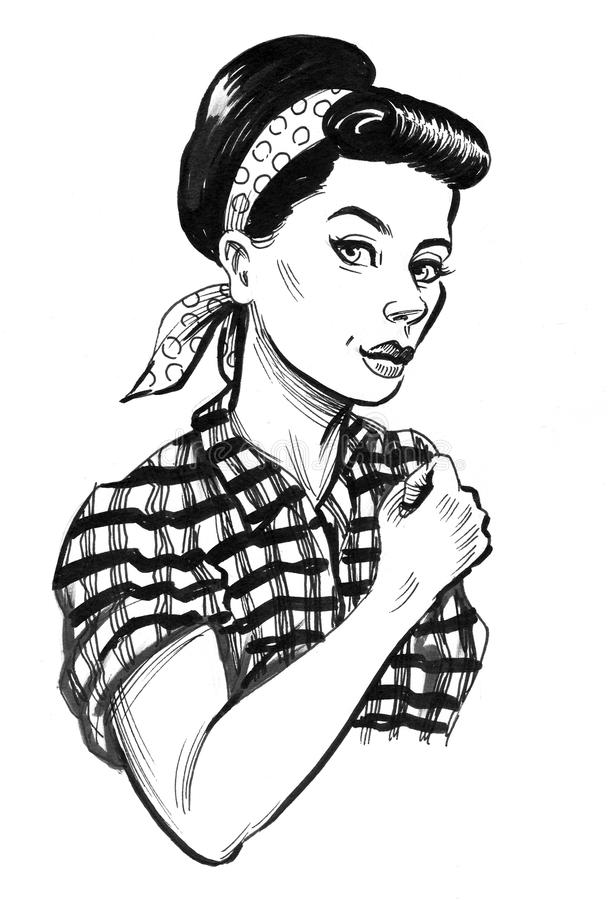 Strong pinup woman royalty free illustration