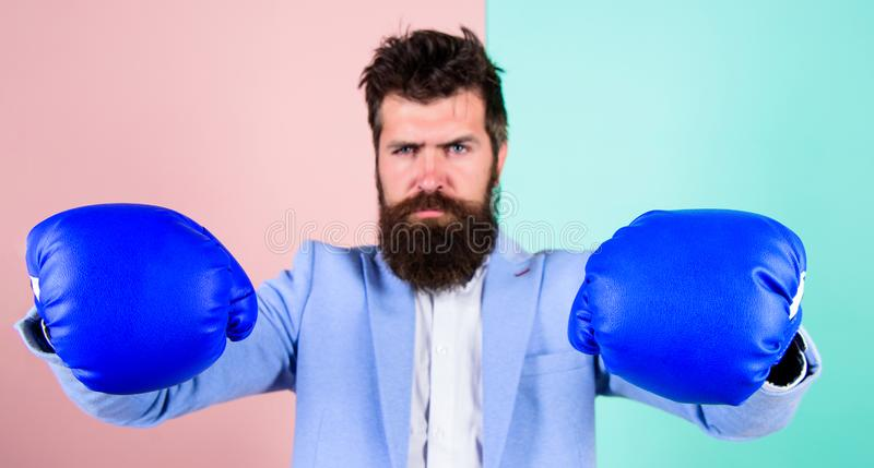 Strong and powerful. Bearded man in boxing stance. Fighting for success in sport and business. Businessman in formal. Wear and boxing gloves. Sport improves his royalty free stock image