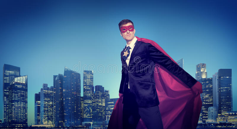 Strong Powerful Business Superhero Cityscape Concepts.  royalty free stock images