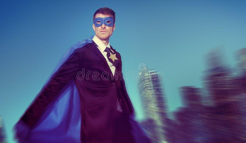 Strong Powerful Business Superhero Cityscape Concepts stock photos