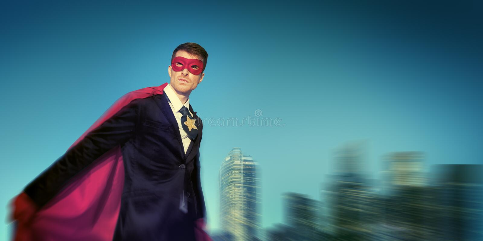 Strong Powerful Business Superhero Cityscape Concepts royalty free stock image