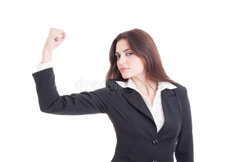 Strong and powerful business woman, entrepreneur or financial ma. Nager flexing arm isolated on white background royalty free stock images