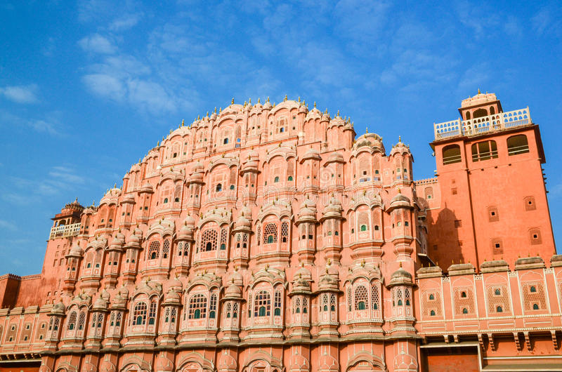 Strong red fort. The outside of the strong red fort,Hawa Mahal, Palace of the wind, India royalty free stock photography