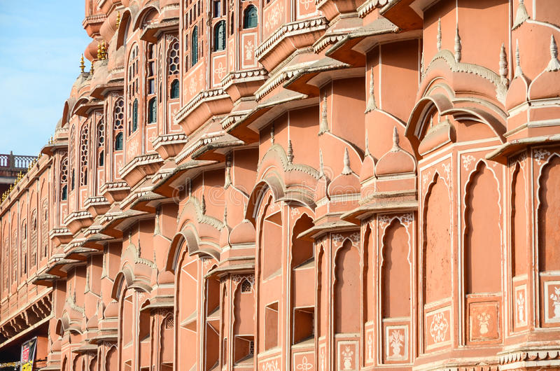 Strong red fort. The outside of the strong red fort,Hawa Mahal, Palace of the wind, India royalty free stock images