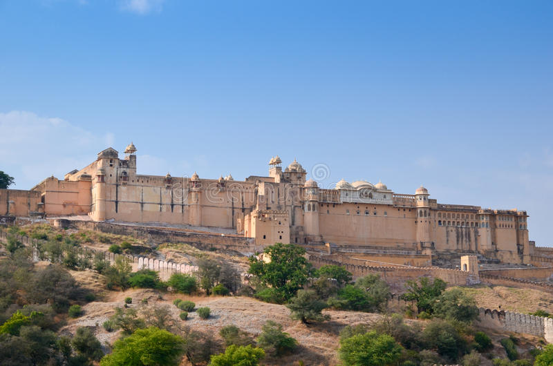 Strong red fort. The outside of the strong red fort on hill, India royalty free stock image