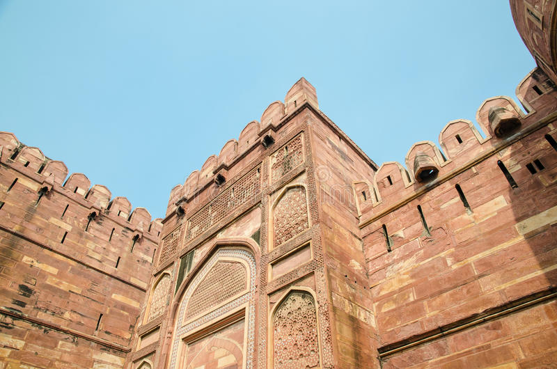 Strong red fort. The outside of the strong red fort, India royalty free stock images
